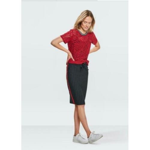 WE fashion stretch donkerblauw rood sportief rokje maat S